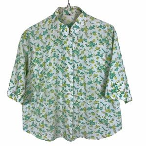 Vintage Floral White Green Short Sleeve Button Up